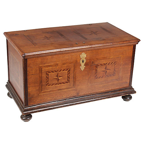19th-C. Rosewood/Mahogany Star Chest