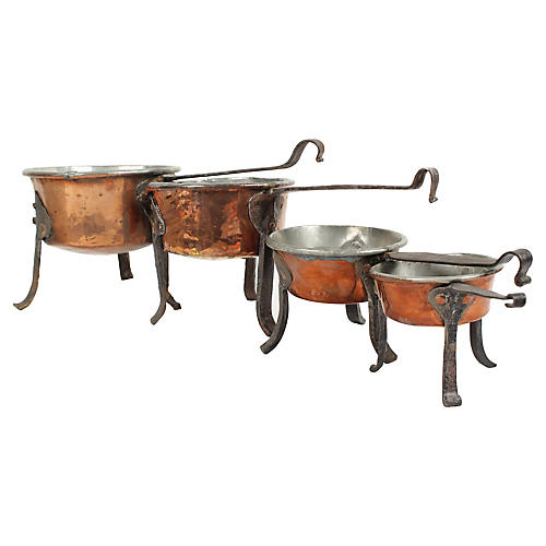 Antique Swedish Copper Cooking Pots, S/4