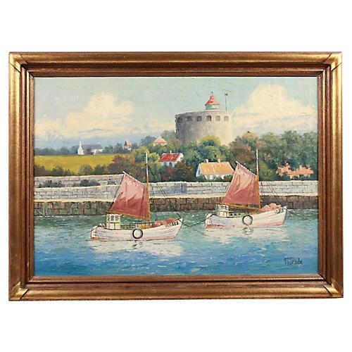 Oil Painting of Sailboat Harbor Scene