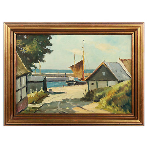 Early 20th c. Seaside Harbor Painting