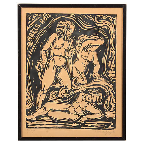 Abel's Death Expressionist Woodcut