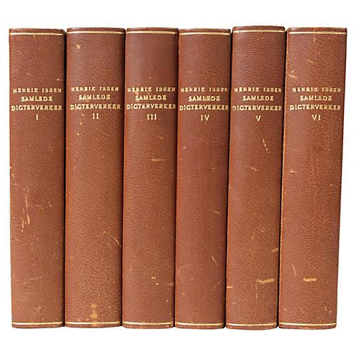 Scandinavian Leather-Bound Books S/6