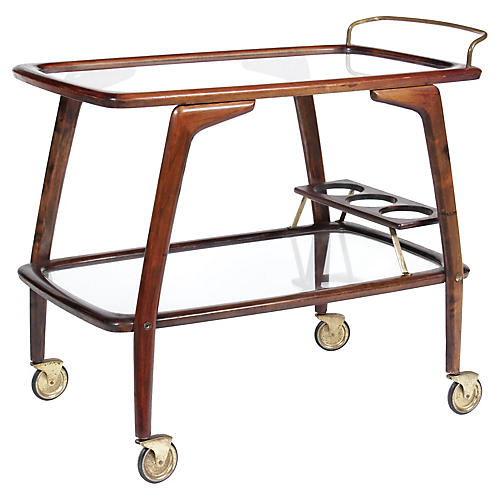 Mid-Century Walnut Bar Cart
