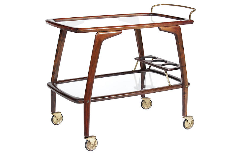Mid-Century Walnut Bar Cart