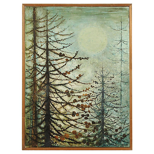 Pine Tree Painting by Eva Floryan