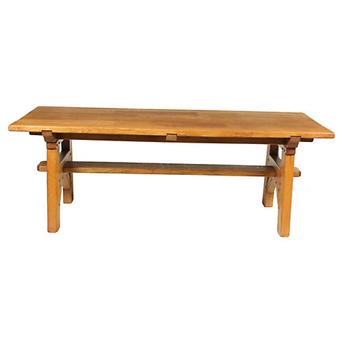 Mission-Style Oak Trestle Dining Table