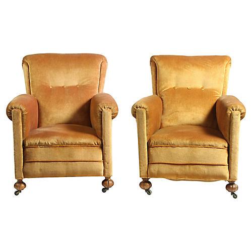 French Art Deco Velvet Club Chairs S/2