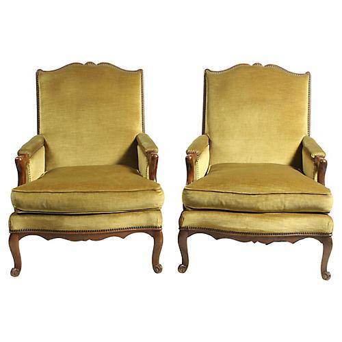 Pair of Louis XV-Style Velvet Armchairs