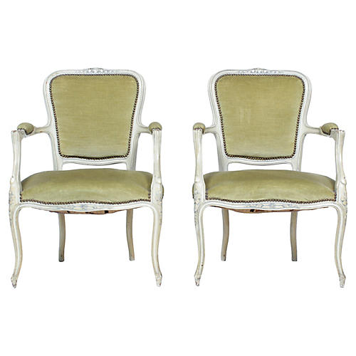 1960s Painted Louis XVI Armchairs S/2