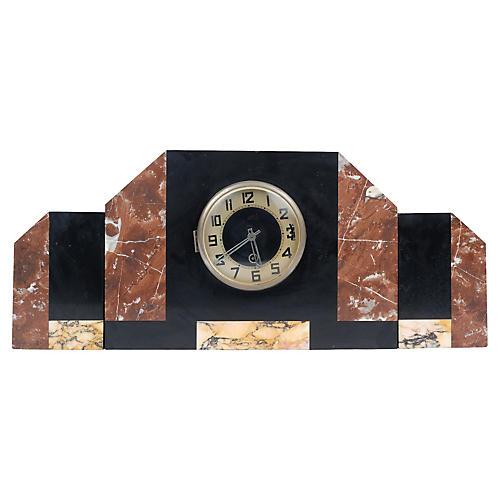 Art Deco Marble Mantle Clock & 2 Pillars