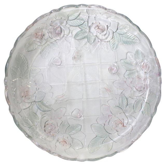 Flower & Trellis Glass Serving Tray
