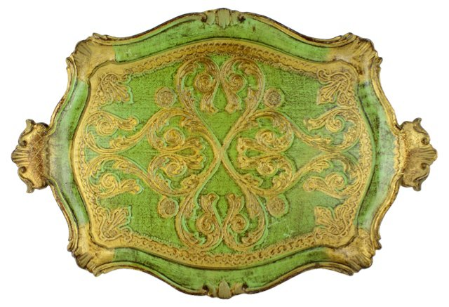 Green & Gold Florentine Tray