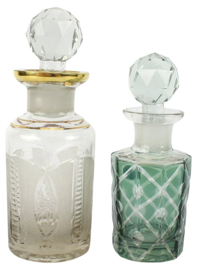 Cut Glass Perfume Bottles, Pair