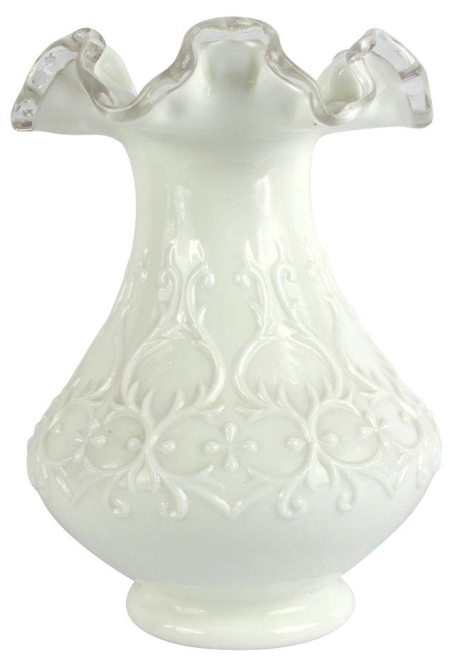Pressed Milk Glass Vase