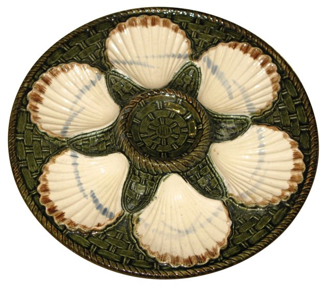 Antique French Majolica Oyster Plate