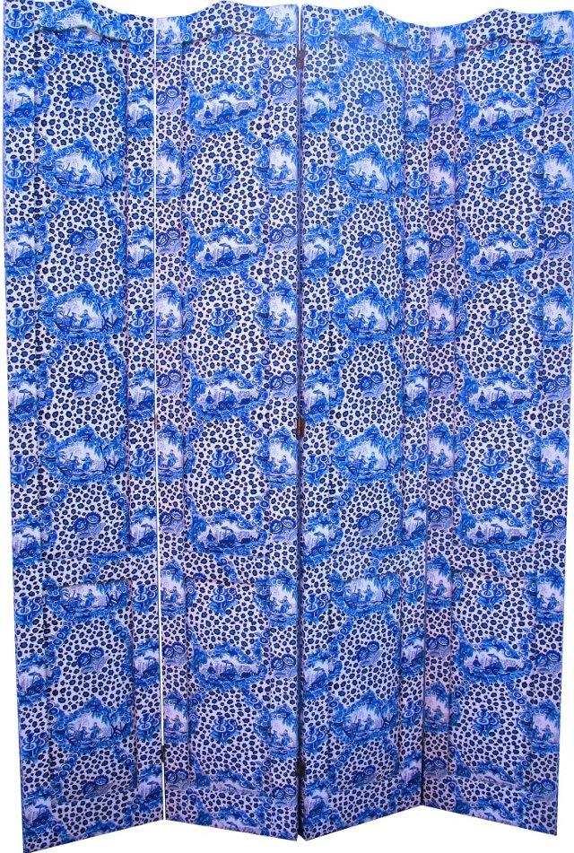 Chinoiserie Blue & White Fabric Screen