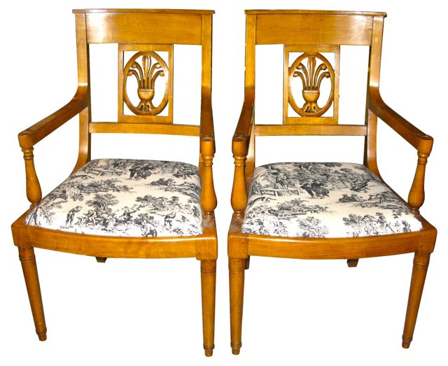French Charles X Style Chairs, Pair