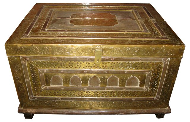 Antique Moroccan Wood & Brass Trunk