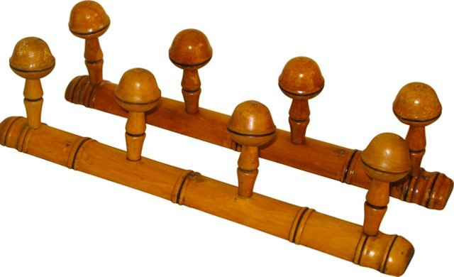 French Faux-Bamboo Hat Racks, Pair