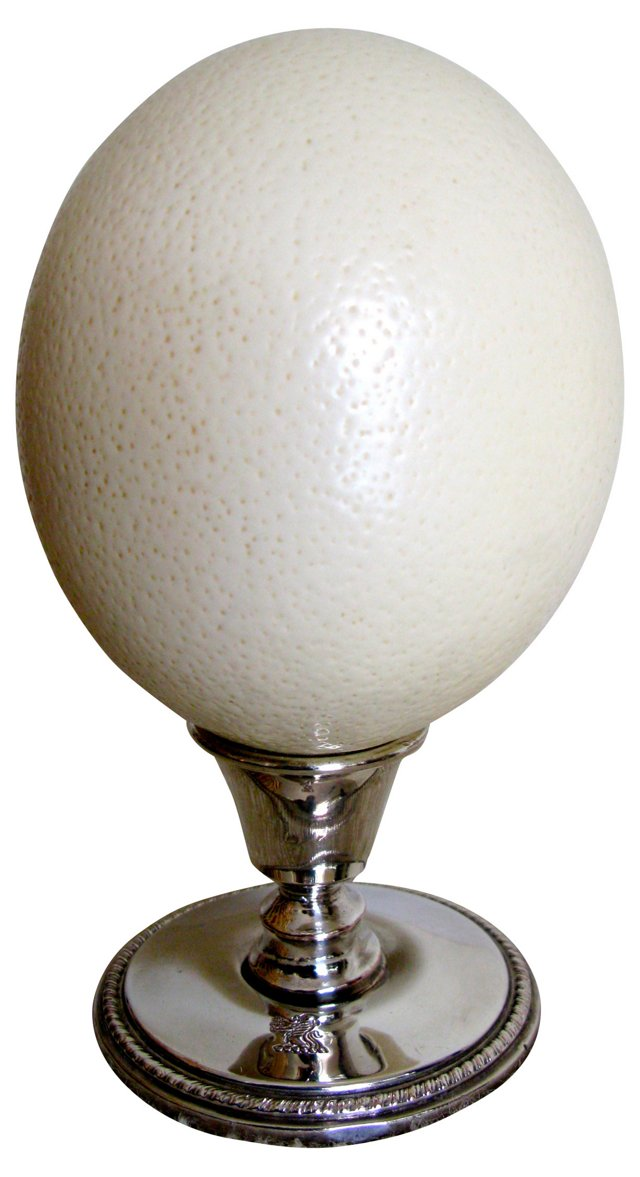 Antique Silver Stand with Ostrich Egg