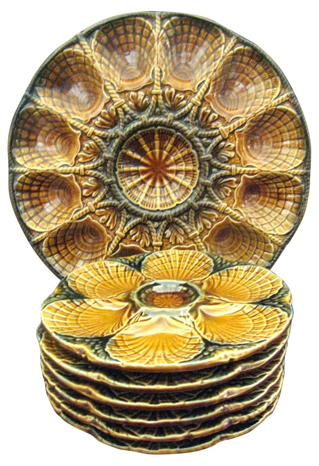 French Majolica Oyster Plates, S/7