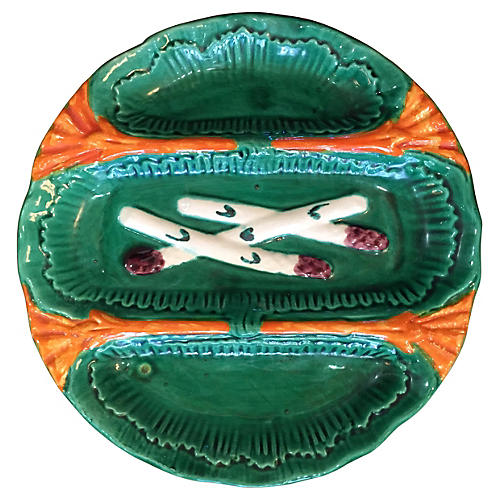 Majolica Asparagus Wall Plate, Signed