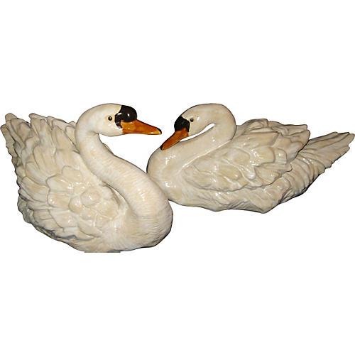 Italian Terracotta Glazed Swans, S/2