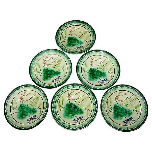 Antique Majolica Bowls, S/6