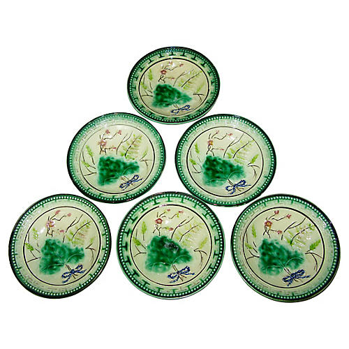 Antique Majolica Bowls, S/6