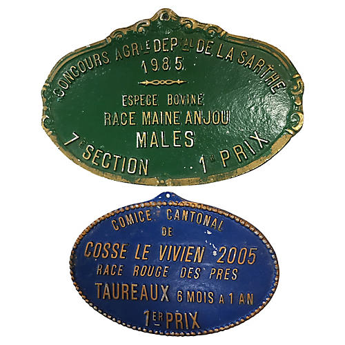Set of 2 French Award Plaques 1985-2005