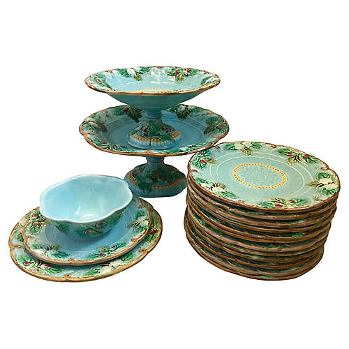 16-Pc Majolica Dinnerware Set, C.1890