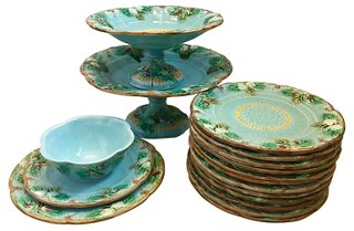 16-Pc Majolica Dinnerware Set C.1890 - Decorative Kitchenware - Decorative Accents - Home Accents - Decor u0026 Entertaining | One Kings Lane  sc 1 st  One Kings Lane & 16-Pc Majolica Dinnerware Set C.1890 - Decorative Kitchenware ...