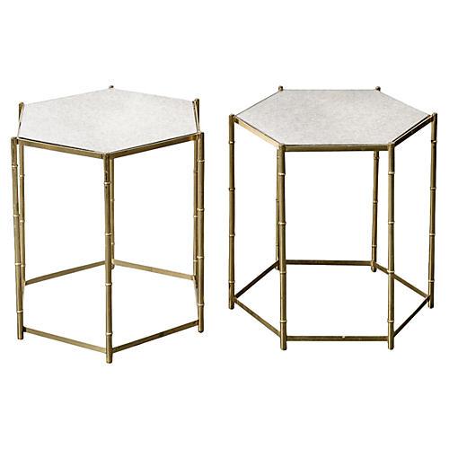 Italian Brass Bamboo-Style Tables, Pair