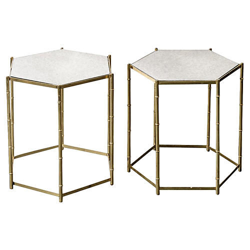 Italian Brass Bamboo-Style Tables, Pair