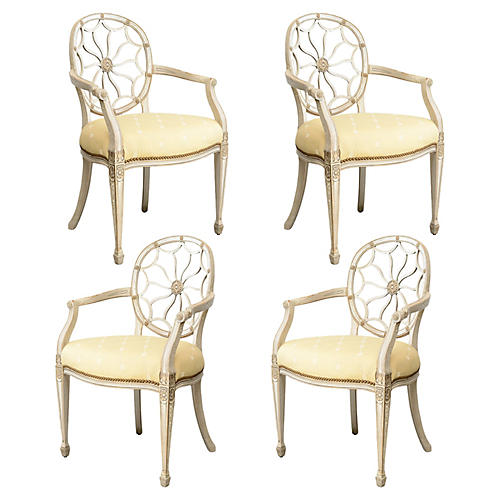 Round Rosette-Back Chairs, S/4
