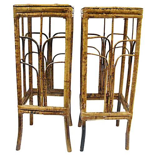 Pair of Burnt Bamboo Plant Stand