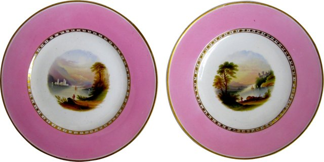 Old Paris Porcelain Plates, Pair