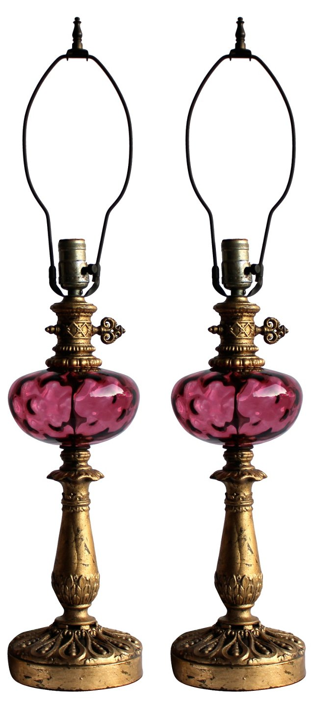 Cranberry Glass Lamps, Pair