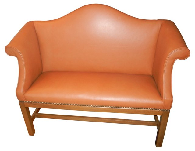 Chippendale-Style Leather Settee