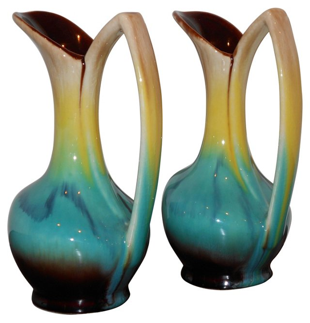 English Ceramic Vases, Pair