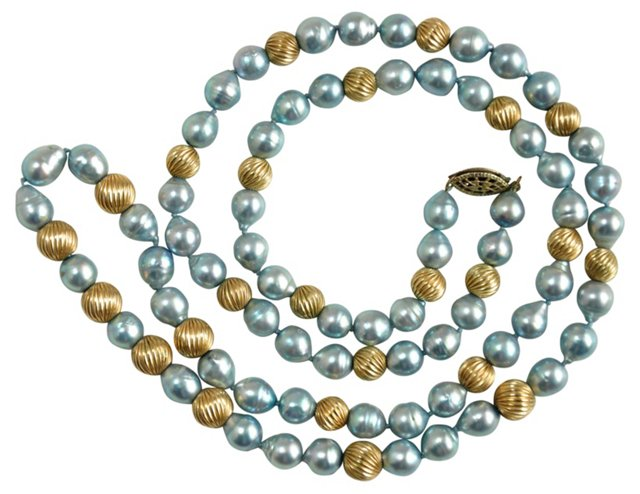Gray Pearl & Gold-Filled Bead Necklace