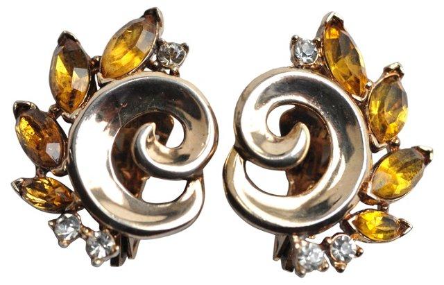 Crown Trifari Rhinestone Earrings