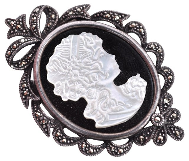 Sterling Cameo Pendant & Pin