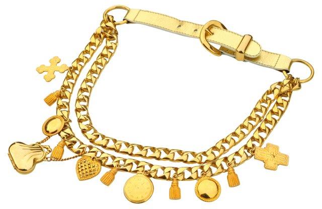 Escada Gold Charm Swag Belt