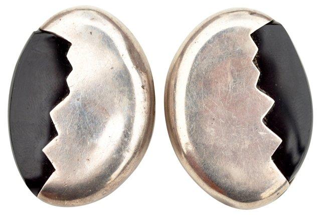 Mexican Silver & Onyx Earrings