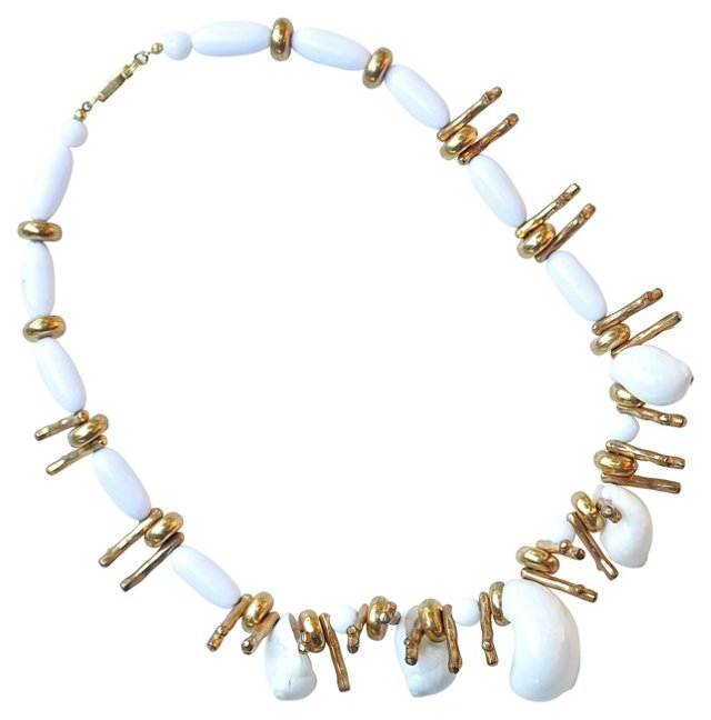 Dauplaise Gold & White Shell Necklace