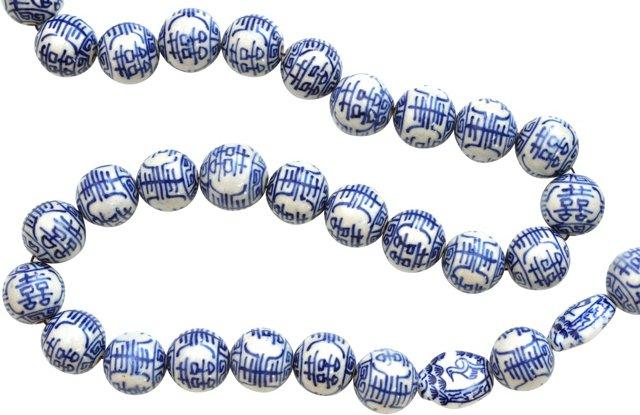 Large Blue Porcelain Beads 50/pc