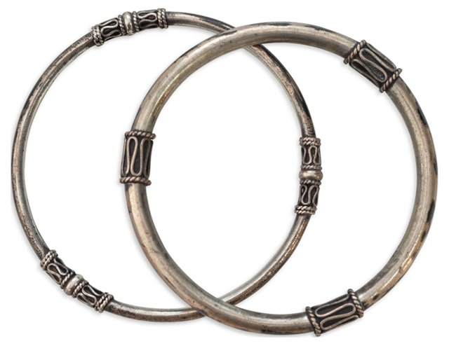 Indian Sterling Tribal Bangles, Pair
