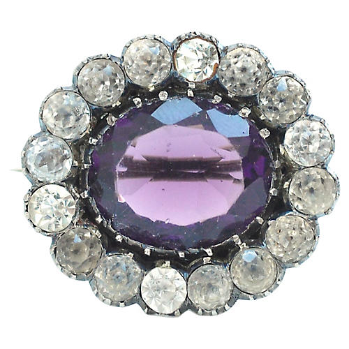 Georgian Amethyst Paste Brooch