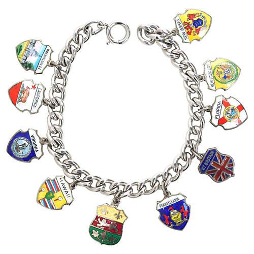 Crest Sterling Charm Bracelet